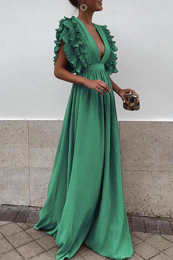V-Neck Backless Solid Color Dress