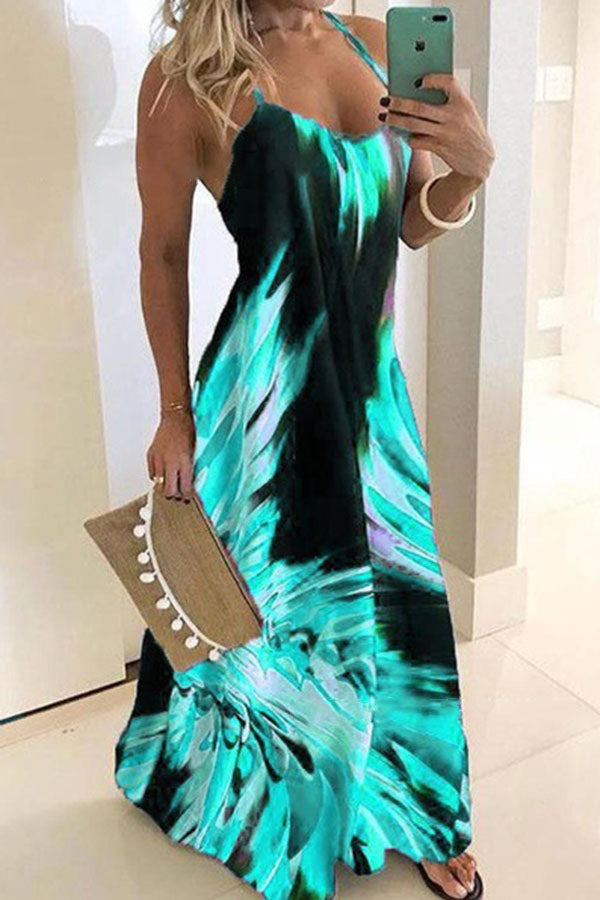 Color Collision Sleeveless Strape Dress