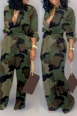 Camouflage Lace-Up Jumpsuit