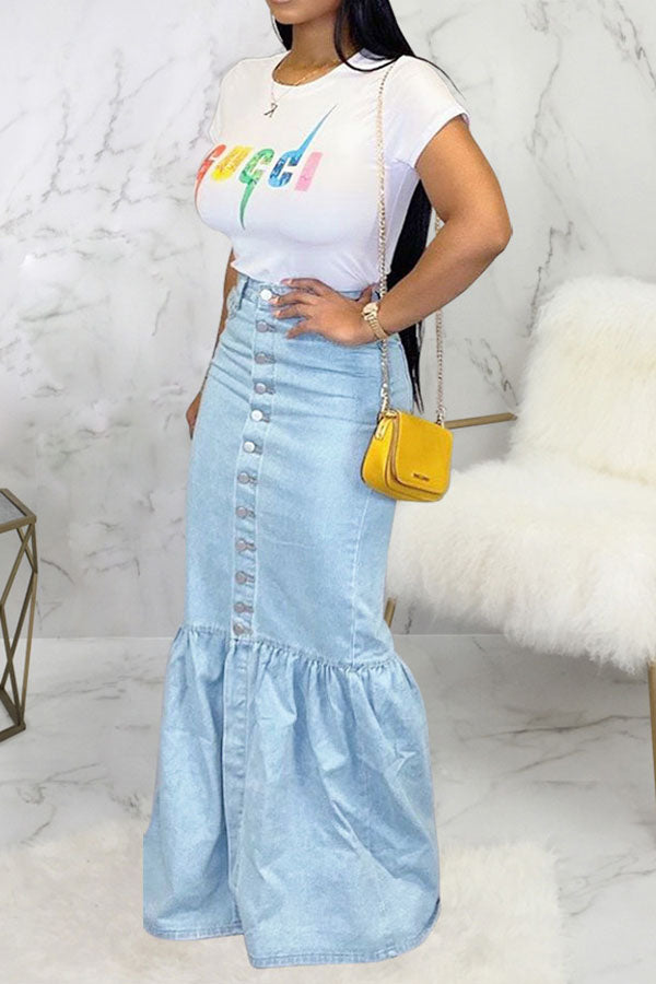 Button Up Fish Tail Denim Skirt