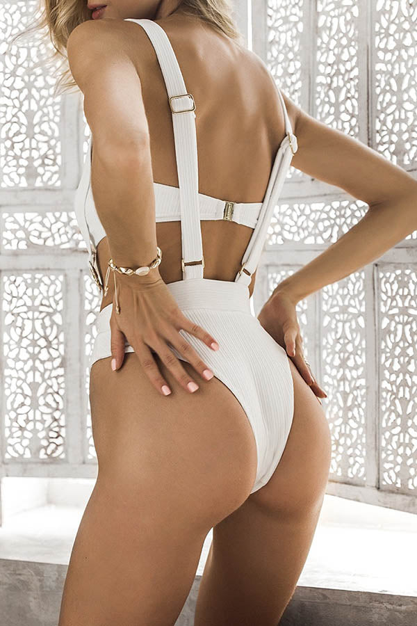 Solid Color Suspender Swimsuit