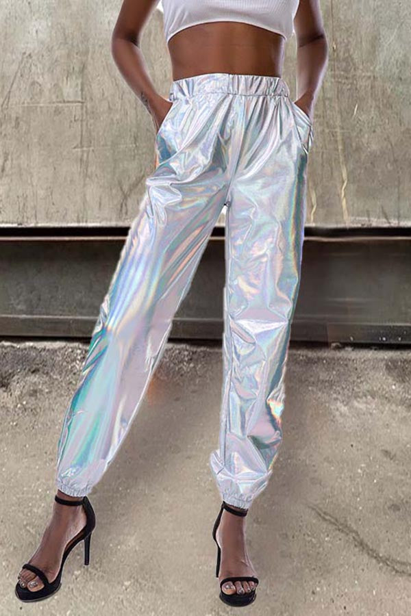 High-Rise Shiny Hip-Hop Pants
