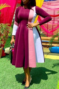 Colorblock Long Sleeve Round Neck Dress