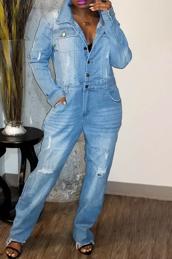 Fashion Denim Loose Jumpsuit