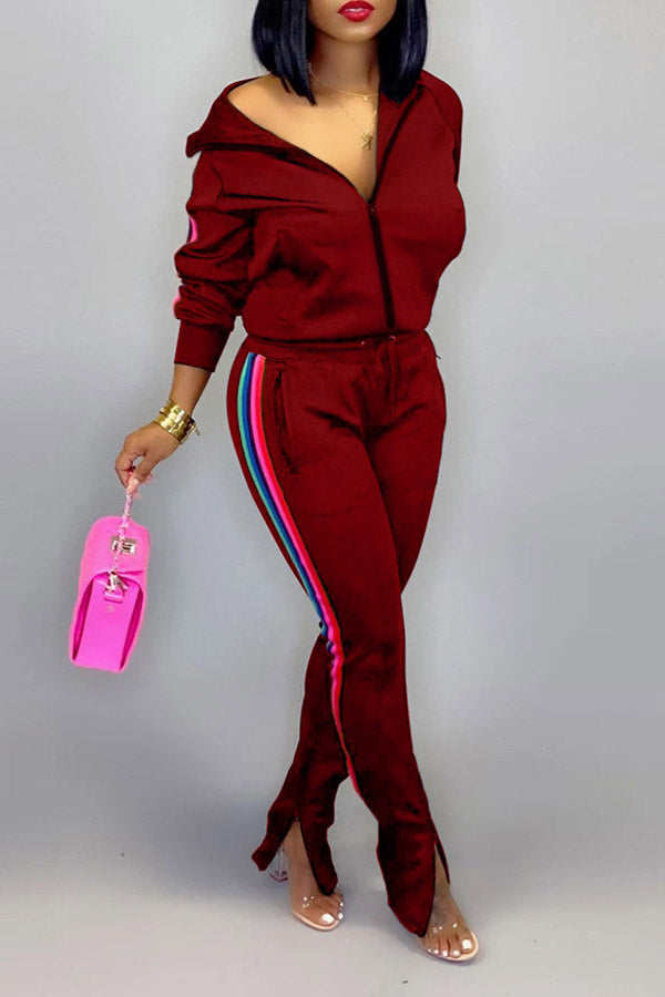 Solid Color Splice Sporty Suit Set