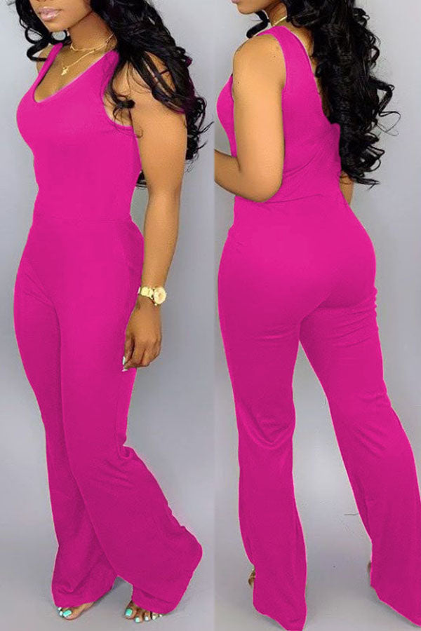 Solid Color Sleeveless Wide Leg Jumpsuit