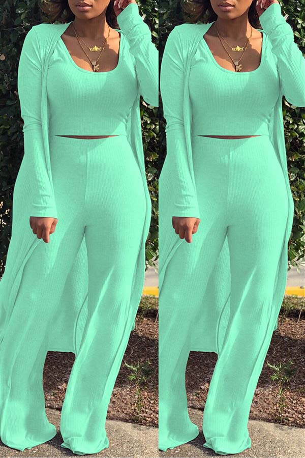 Solid Color Skinny Three-piece suit
