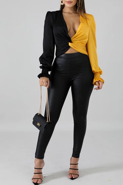 Twisted Deep V-Neck Long Sleeve Top
