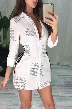 Letter Print Lace Up Shirt Dress