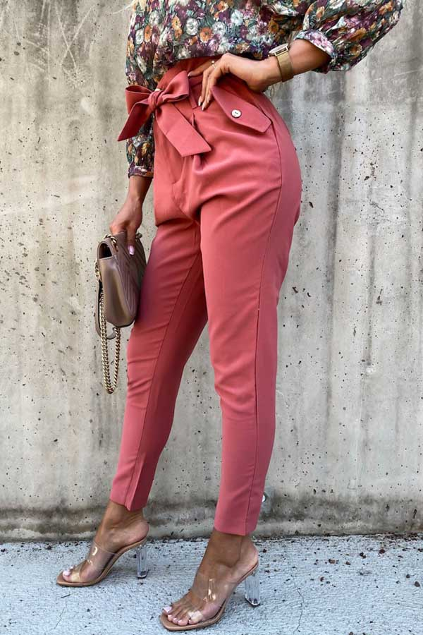 High Waist Bow Belt Solid Color Harem Pants