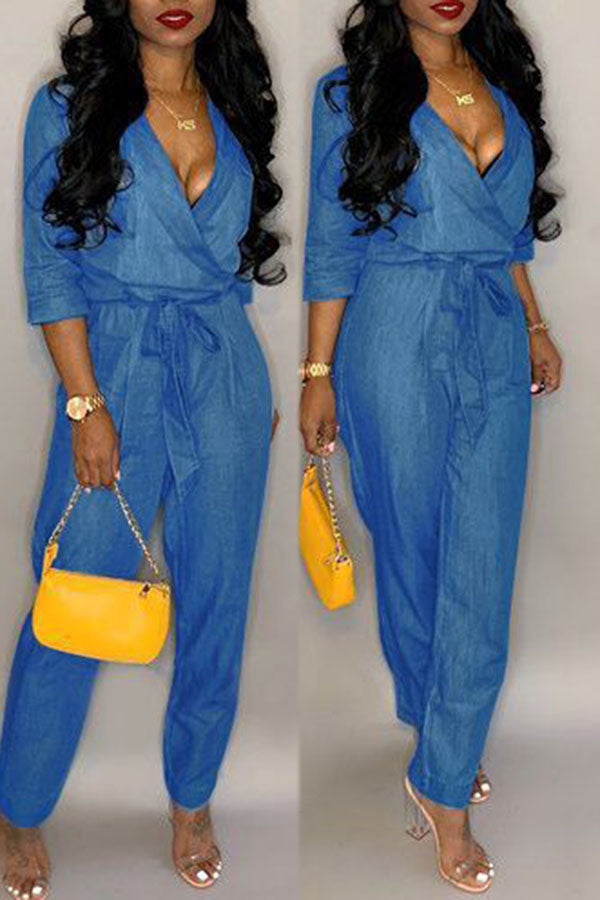 Solid Color V-neck Denim Jumpsuit
