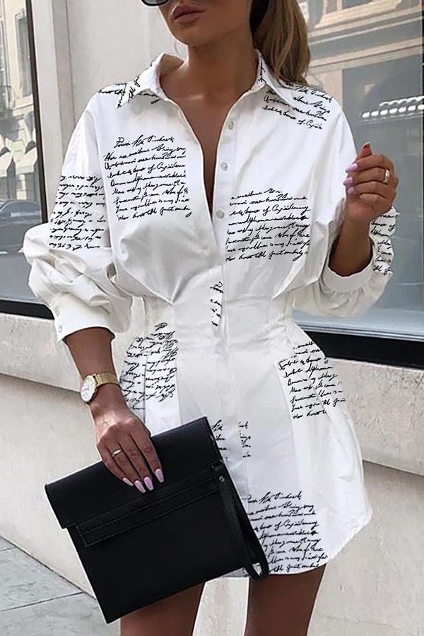 Letter Print Pleated Waist Shirt Dress