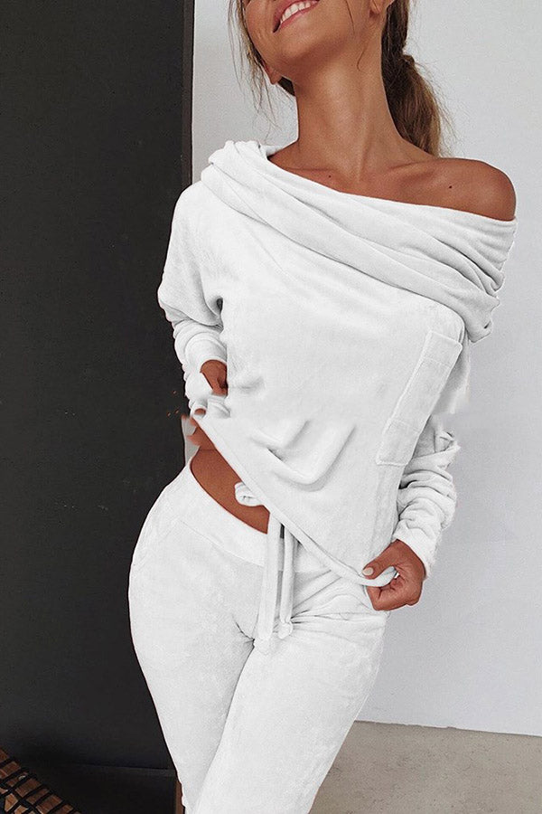 Off Shoulder Long Sleeve Two-piece Set