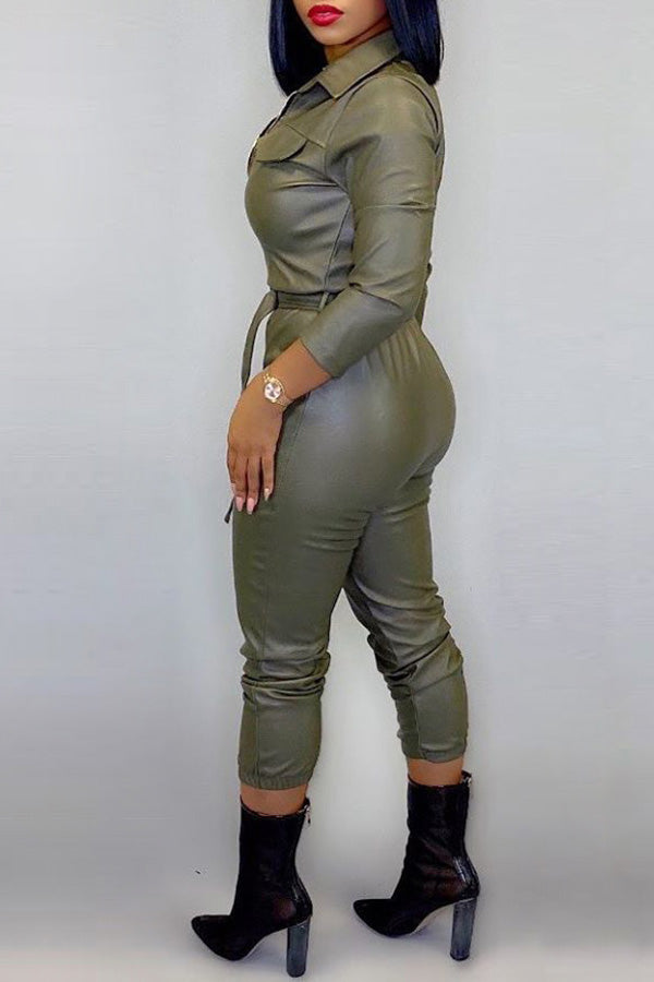 Long Sleeve Solid Color Jumpsuit