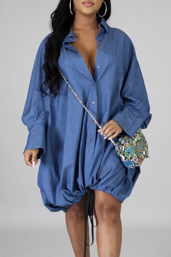 Long Sleeve Solid Color Loose Dress