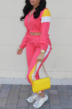 Color Block Casual Two Piece Pants Set