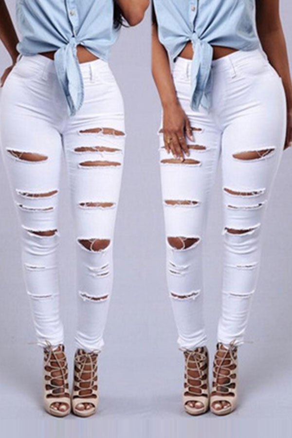 Solid Color Ripped Jeans Pants
