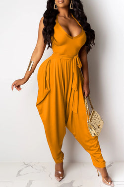 Retro Casual High-Waisted Jumpsuit