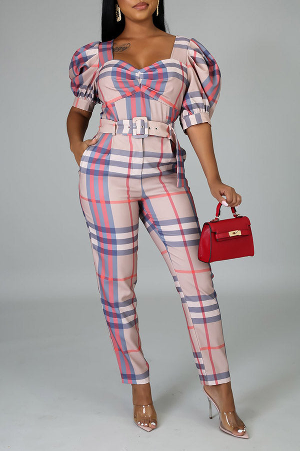 Checked Puff Sleeve Jumpsuit£¨With Belt£©
