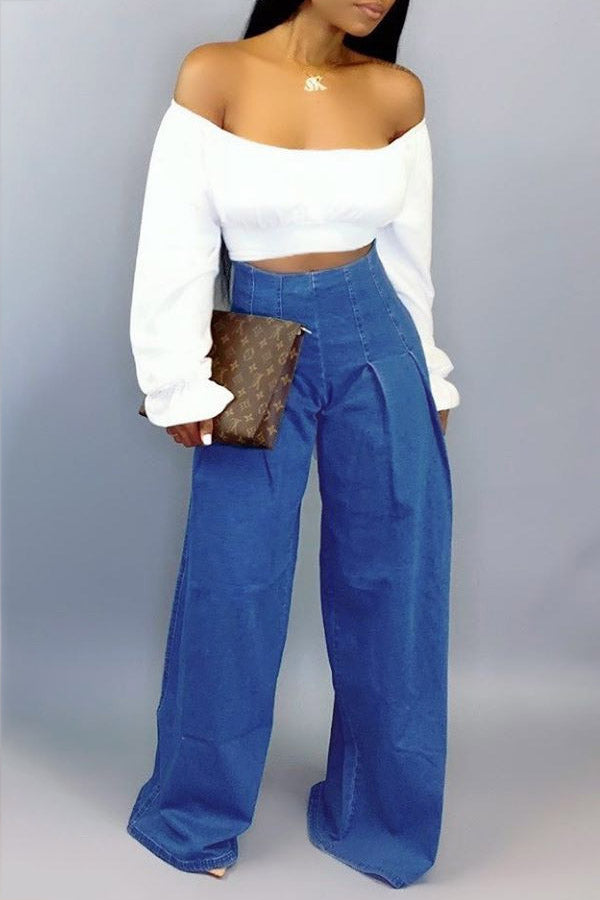 Off-The-Shoulder Casual Denim Trousers Suit