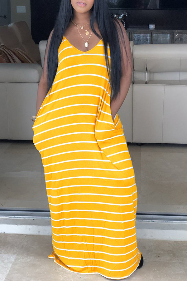 V Neck Bohemian Striped Long Dress