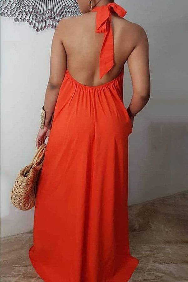 Solid Color Backless Sleeveless Dress