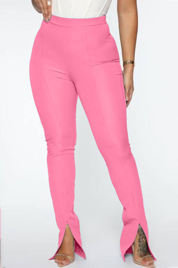 Casual Front Fork Solid Color Pants