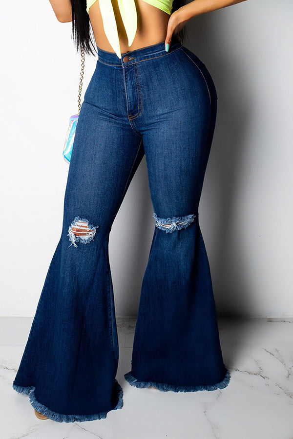 Retro Ripped Flared Jeans