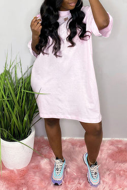 Casual Solid Color Short Sleeve Dress