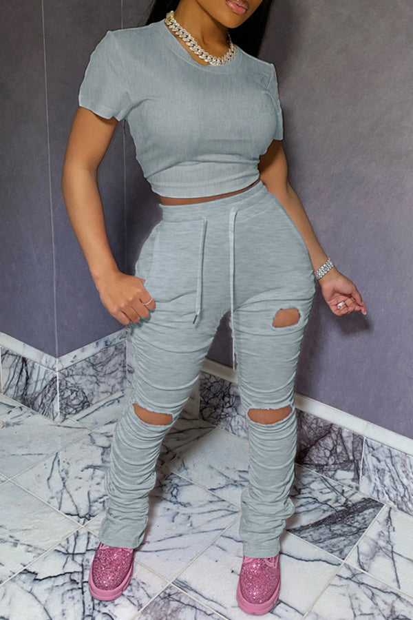 Solid Color Pleated Ripped Two Piece Set