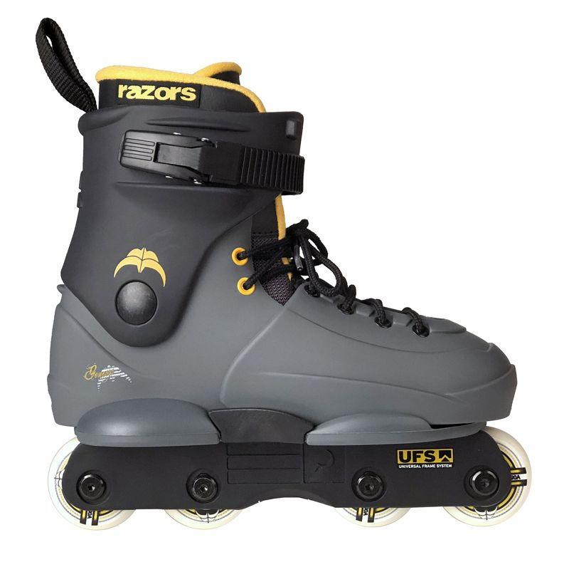 Razors Genesys Jr Kid's Skate - Grey/Citrus (8 wheels) - Oak City Inline Skate Shop