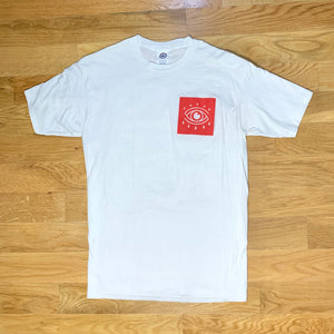 Red Eye Boxed Logo Tee - White