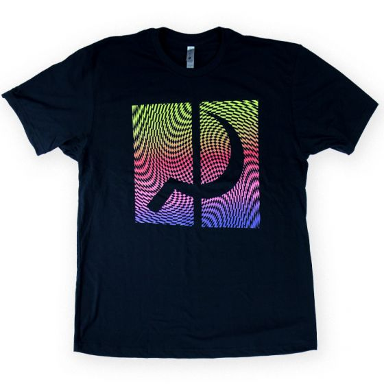 Ground Control Rainbow Psych Tee (Black) - Oak City Inline Skate Shop