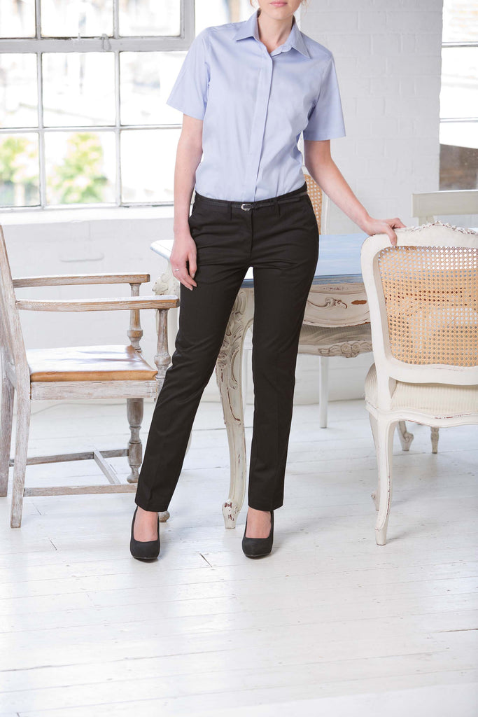 Ladies 65/35 Flat Fronted Chino Trousers - Shirts4All NL