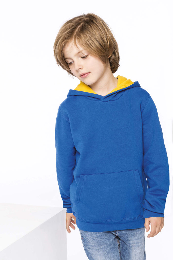 Kinder hooded sweater met gecontrasteerde capuchon - Shirts4All NL
