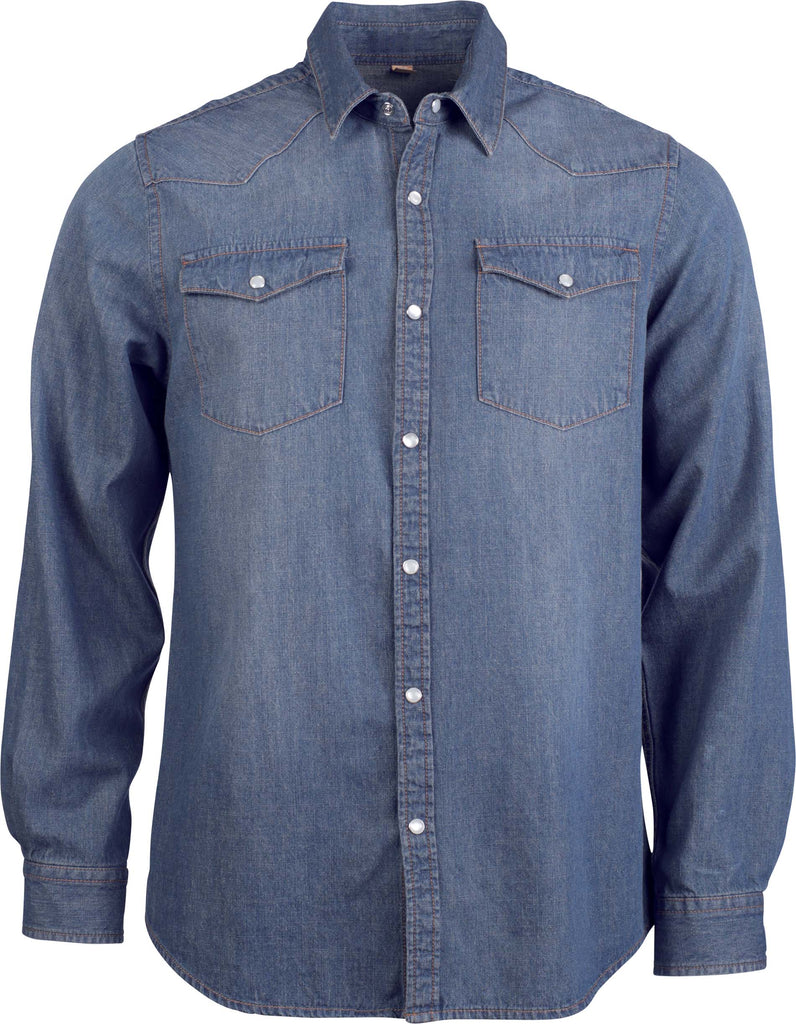 Heren denim overhemd lange mouwen - Shirts4All NL
