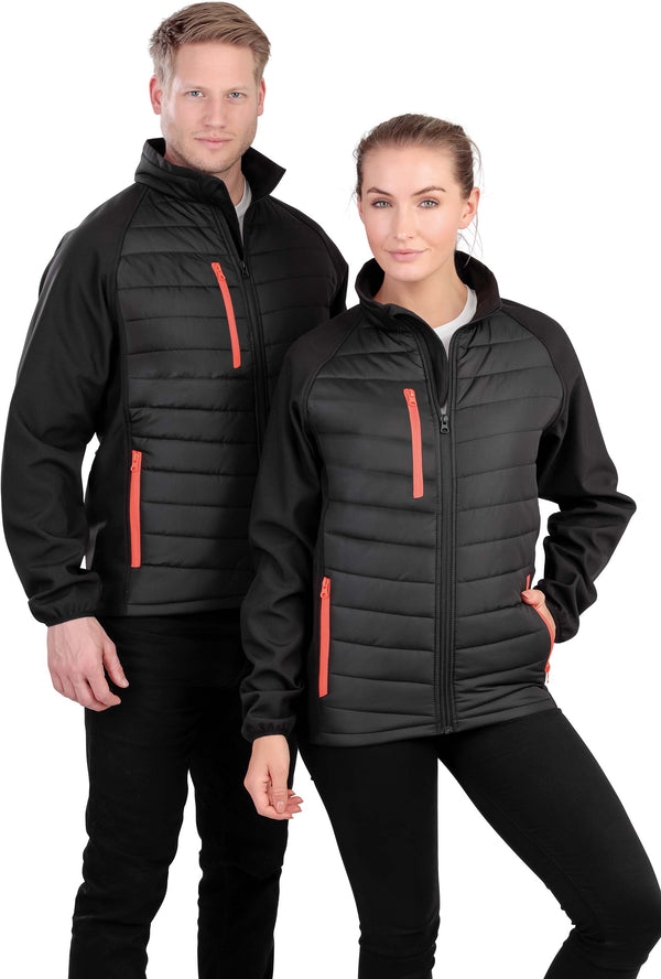 BLACK COMPASS PADDED SOFT SHELL JACKET - Shirts4All NL