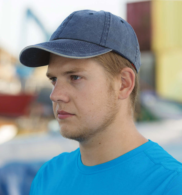 Washed Fine Line Cotton Cap with Sandwich Peak - Shirts4All NL