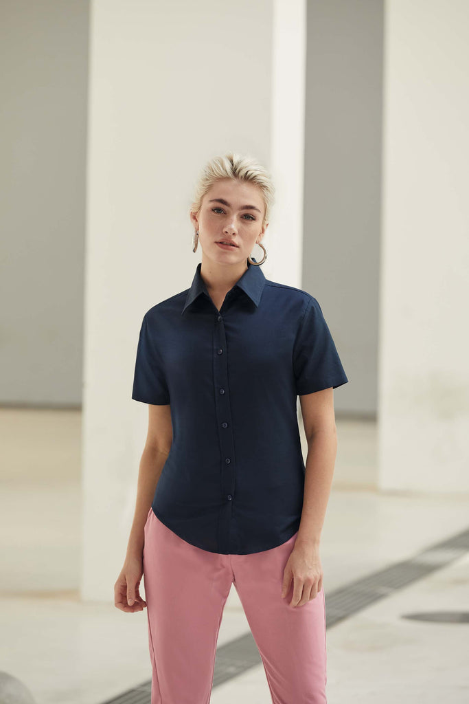 Lady Fit Oxford Shirt Short Sleeves (65-000-0) - Shirts4All NL