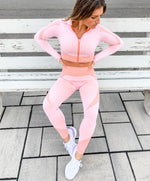 Smoke Show Seamless Crop Long Sleeve Zip-Up - 2 color options