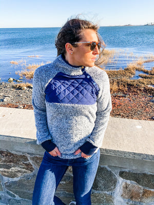 Quilted Fuzzy Pullover - 4 color options