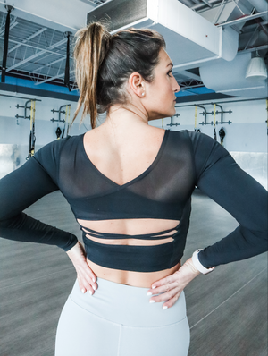Long Sleeve Open Back Crop Top With Built-In Bra - 2 color options