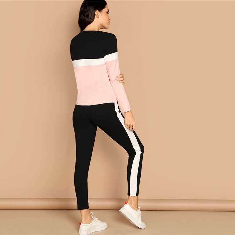 Athleisure Color-Block Two-Piece Set