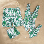 Family Swimwear Tropical Green Leaf Swimsuits