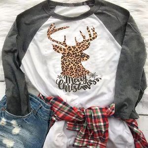 Merry Christmas Leopard Elk Long Sleeve T-Shirt