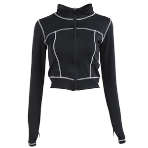 Crop-Top Workout Jacket With White Stitching - 3 color options