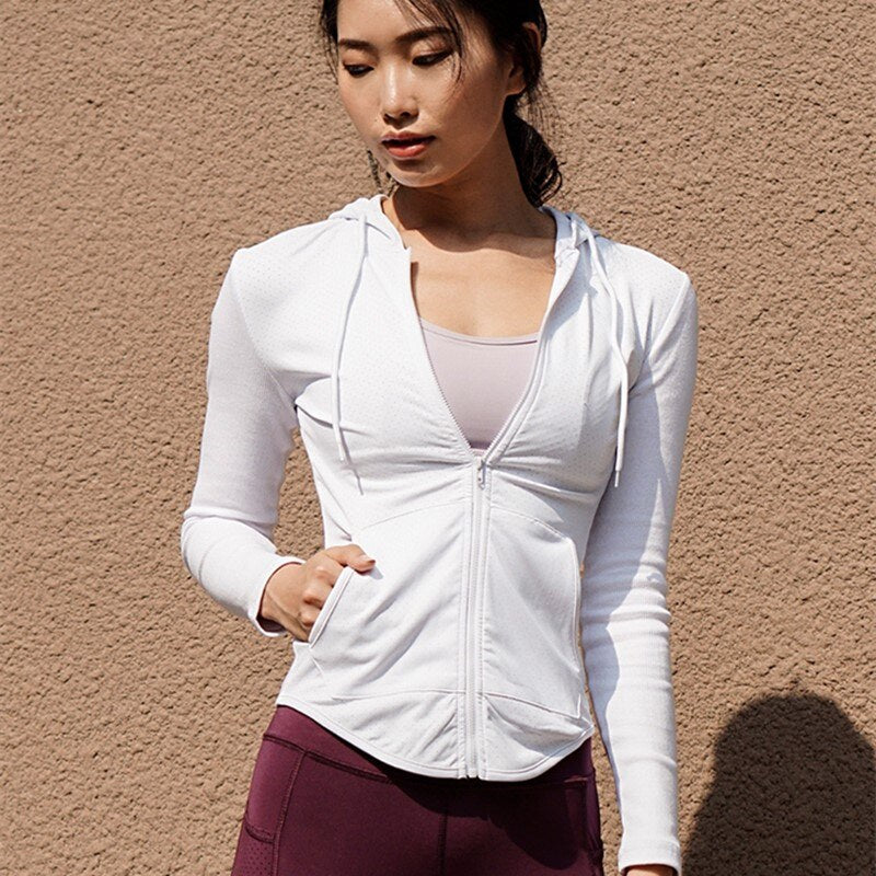 White Slim Fit Light Women's Zip-Up