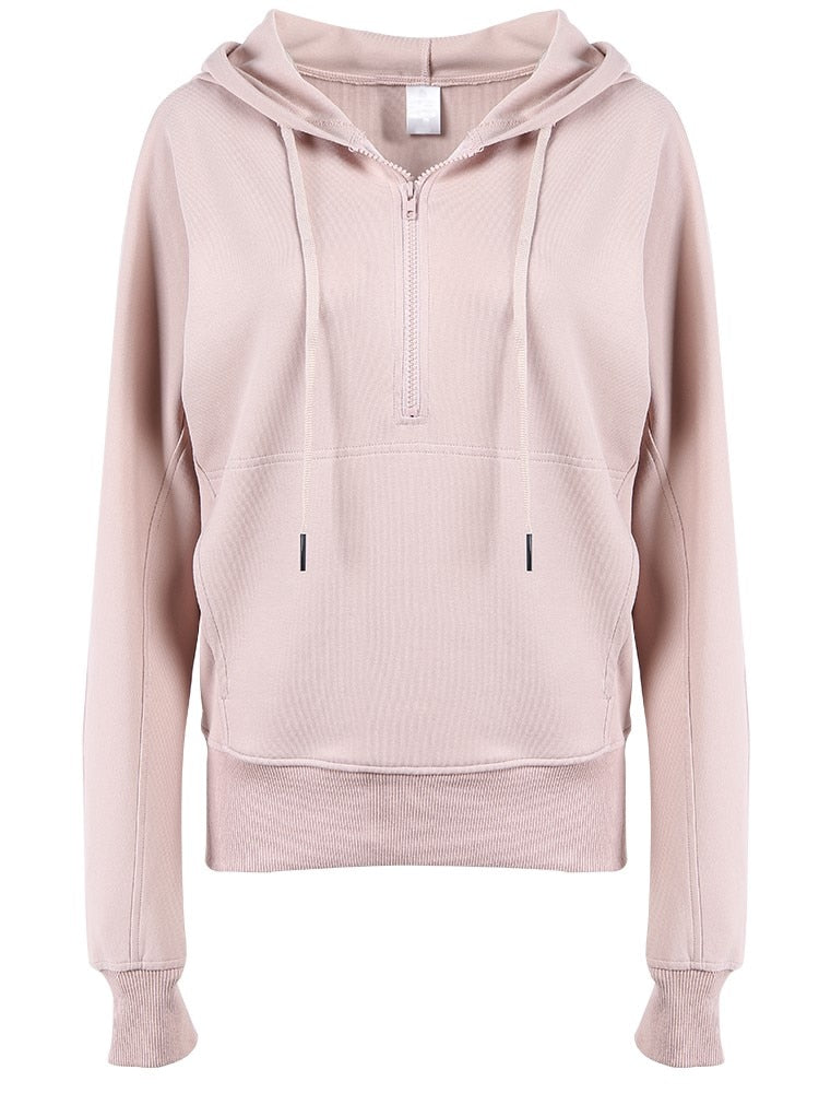 Half Zipper Hooded Sweatshirt - 2 color options
