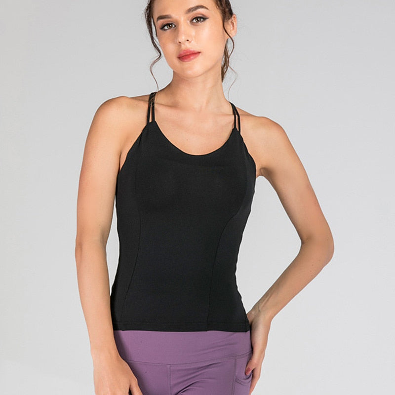 Quick-Drying Racerback Tank With Built-In Bra - 2 color options