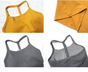 T-Shape Racerback Tank With Built-In Bra - 3 color options
